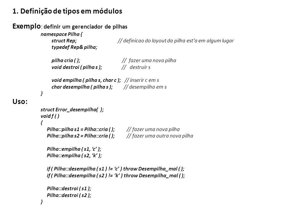 1. Definição de tipos em módulos
