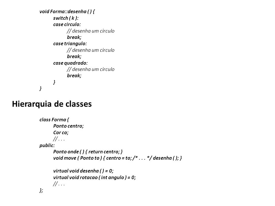 Hierarquia de classes void Forma::desenha ( ) { switch ( k ):