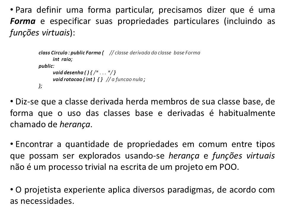 Para definir uma forma particular, precisamos dizer que é uma Forma e especificar suas propriedades particulares (incluindo as funções virtuais):