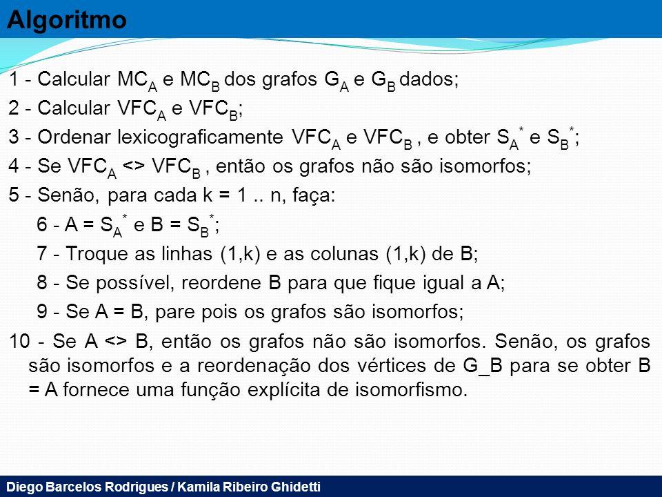 Algoritmo 1 - Calcular MCA e MCB dos grafos GA e GB dados;