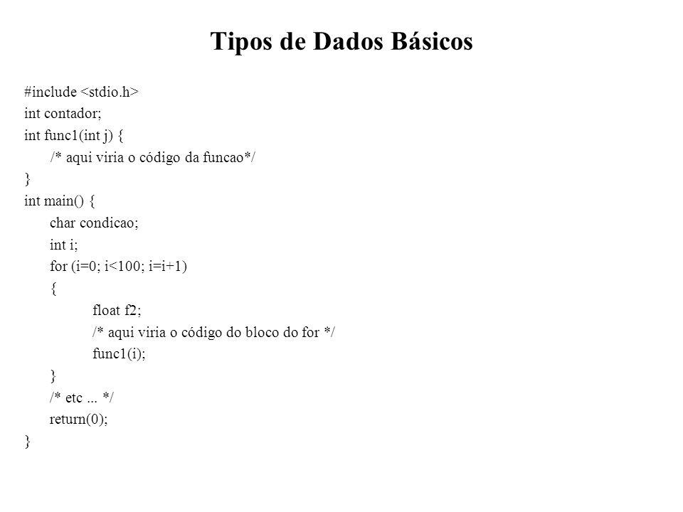 Tipos de Dados Básicos #include <stdio.h> int contador;