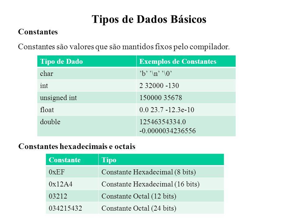 Tipos de Dados Básicos Constantes