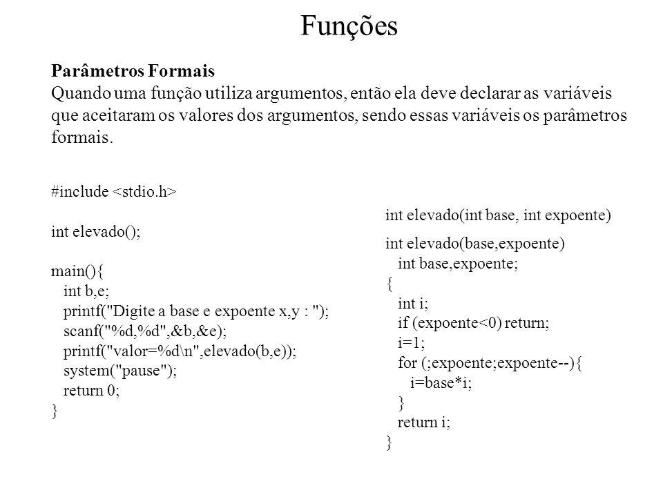 Funções Parâmetros Formais