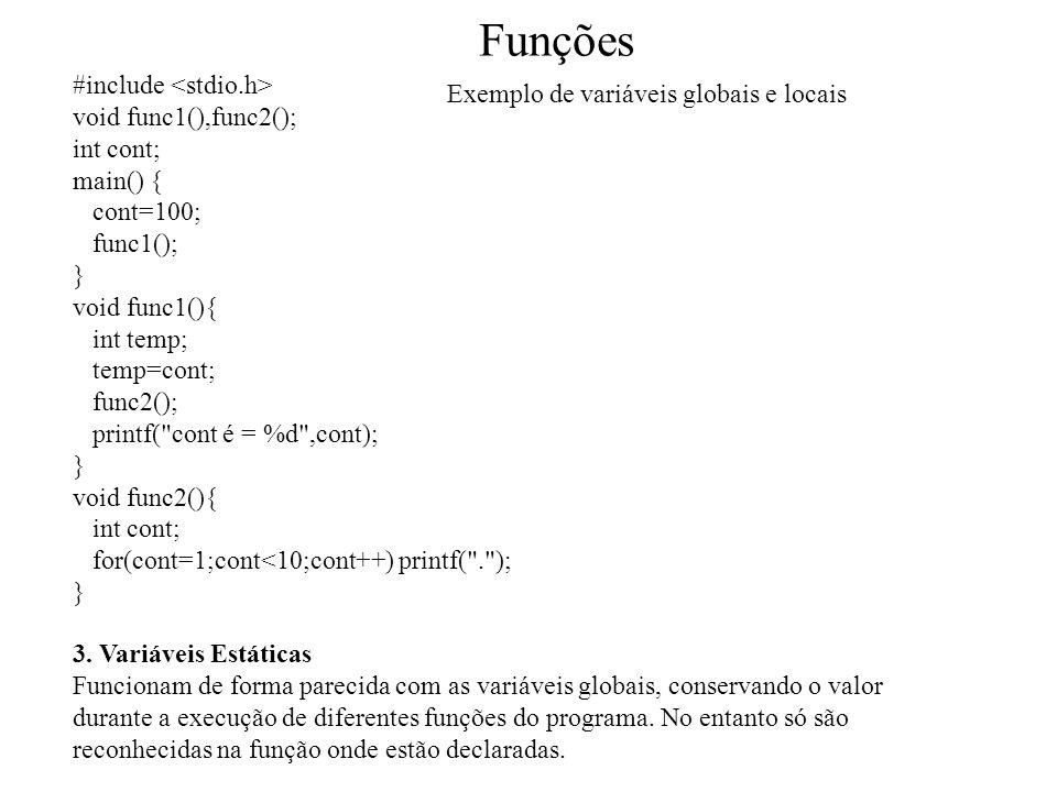 Funções #include <stdio.h> Exemplo de variáveis globais e locais