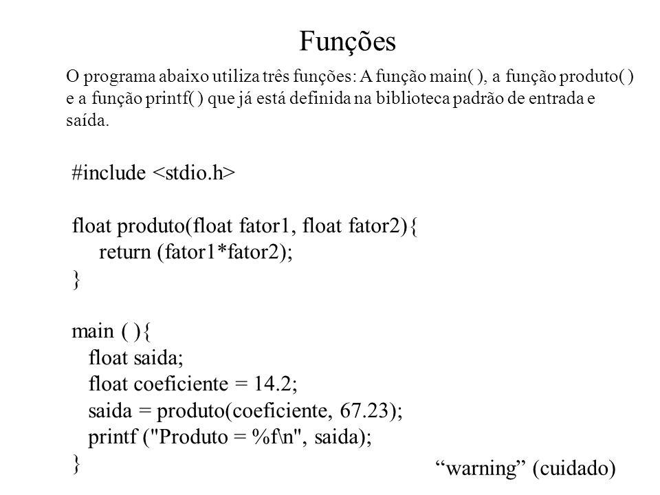 Funções #include <stdio.h>