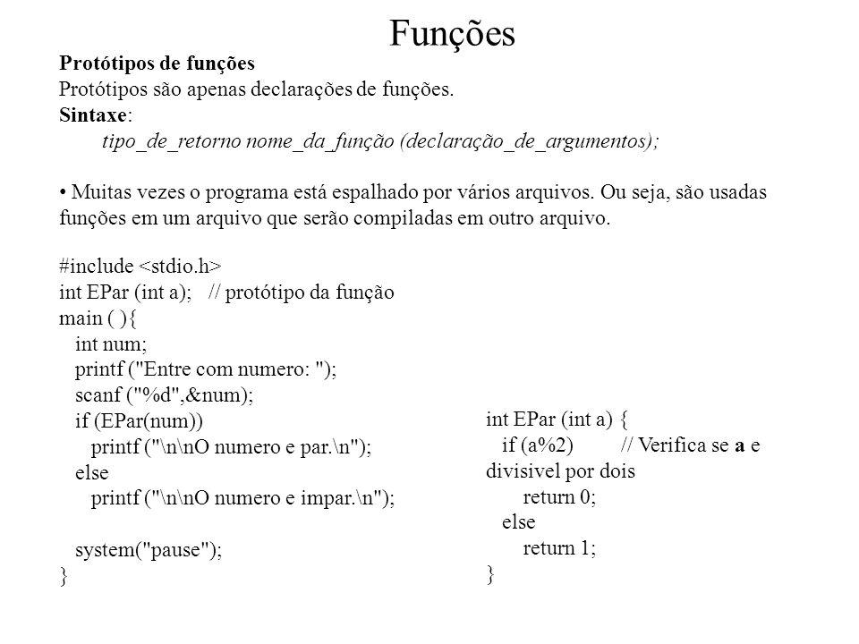 Funções Protótipos de funções
