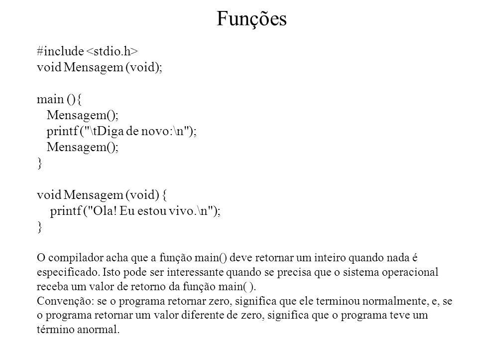 Funções #include <stdio.h> void Mensagem (void); main (){
