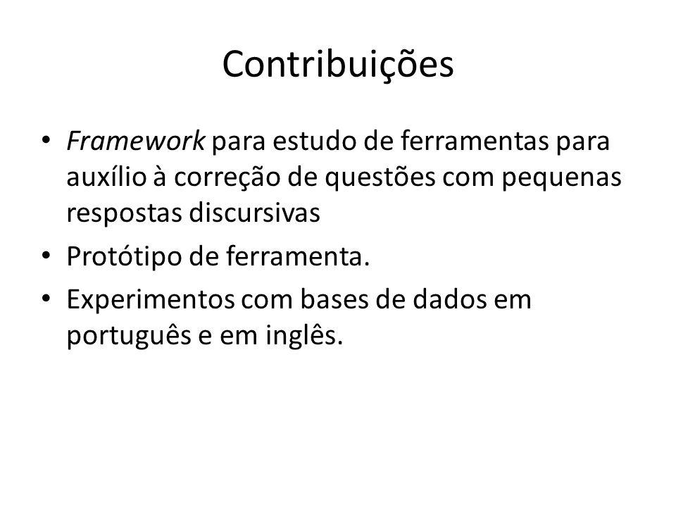 ContribuiçõesFramework para estudo de ferramentas para auxílio à correção de questões com pequenas respostas discursivas.