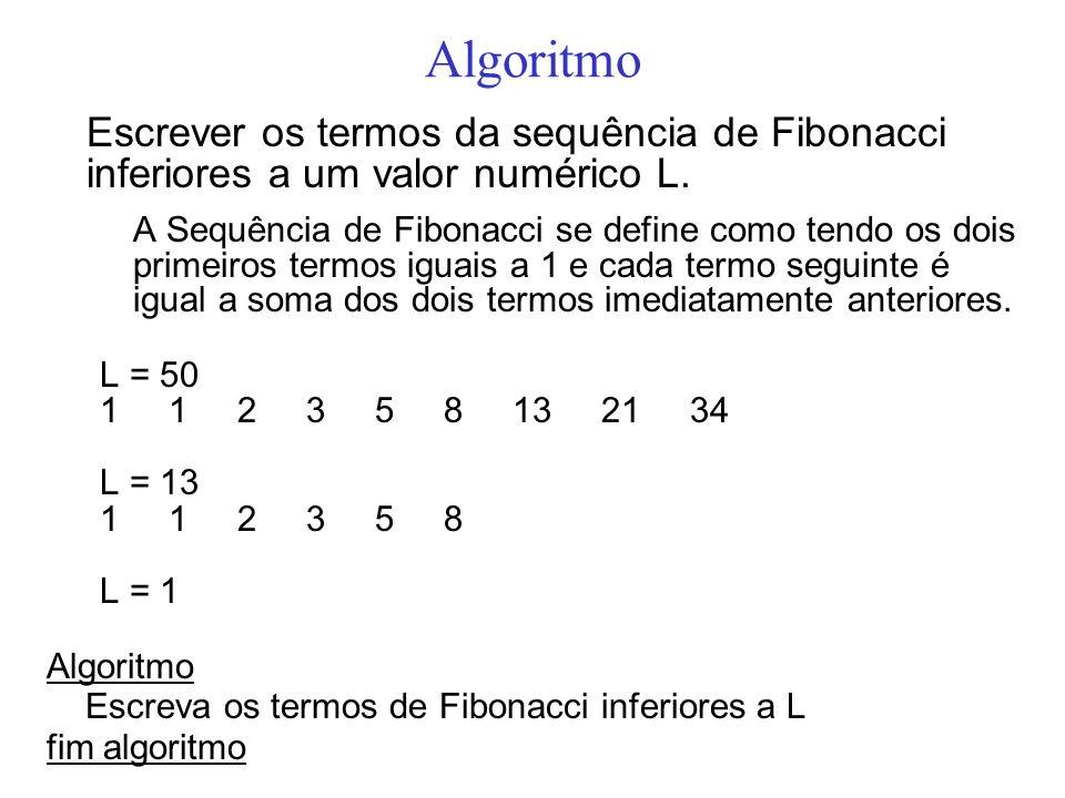 Algoritmo Escrever os termos da sequência de Fibonacci inferiores a um valor numérico L.