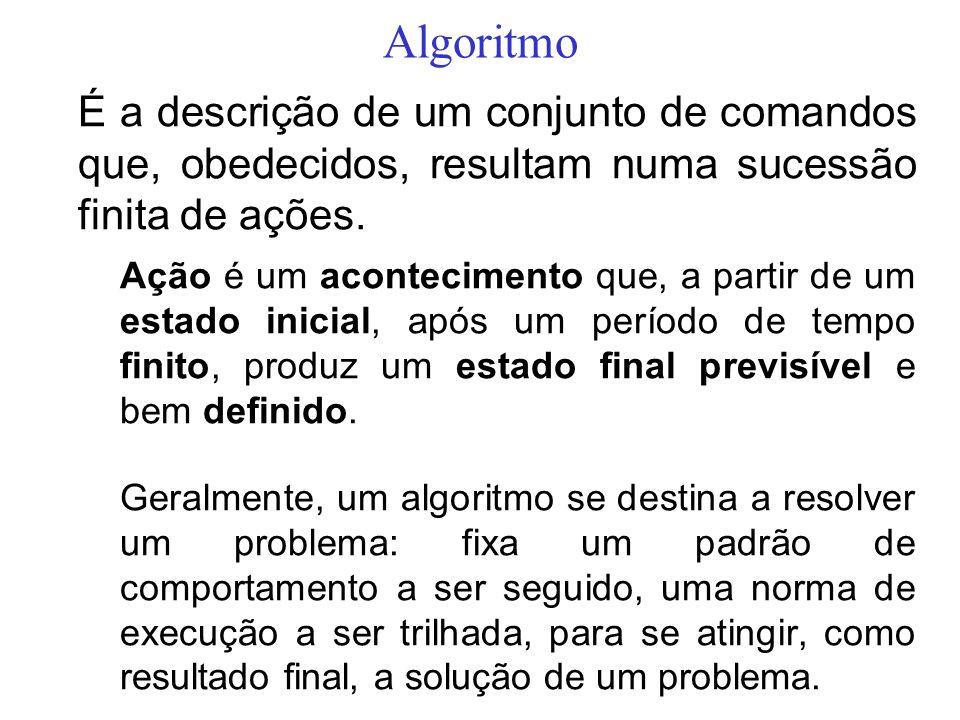 Algoritmo É a descrição de um conjunto de comandos que, obedecidos, resultam numa sucessão finita de ações.