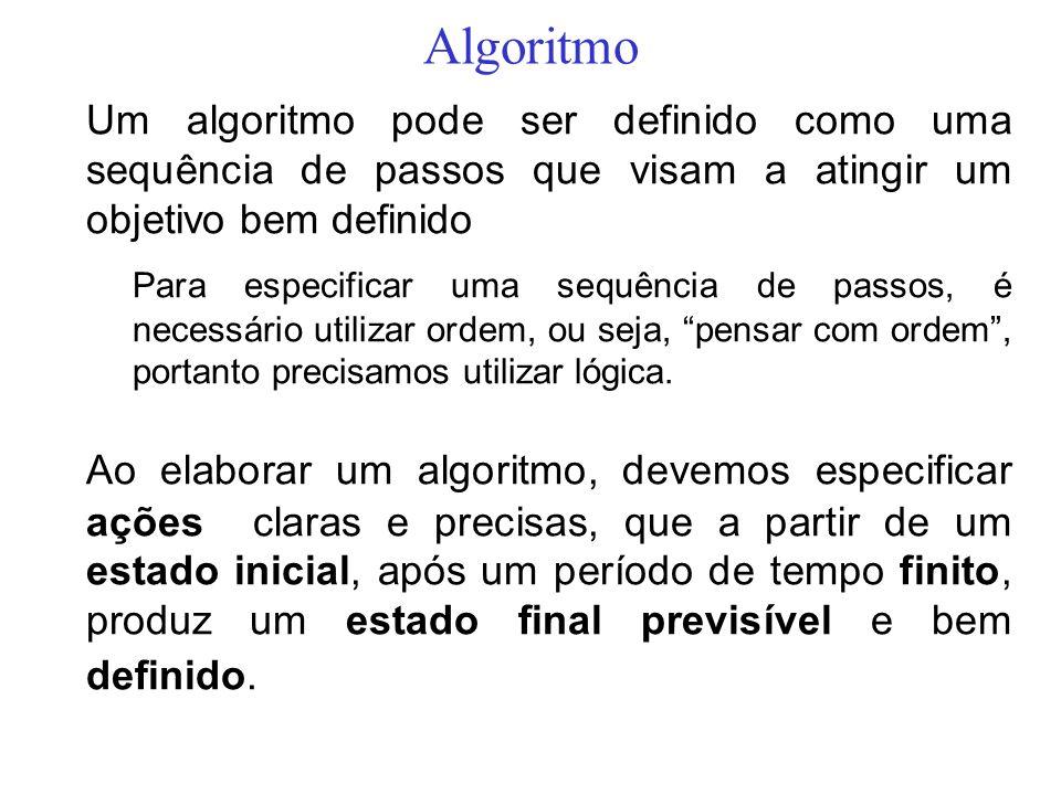 AlgoritmoUm algoritmo pode ser definido como uma sequência de passos que visam a atingir um objetivo bem definido.