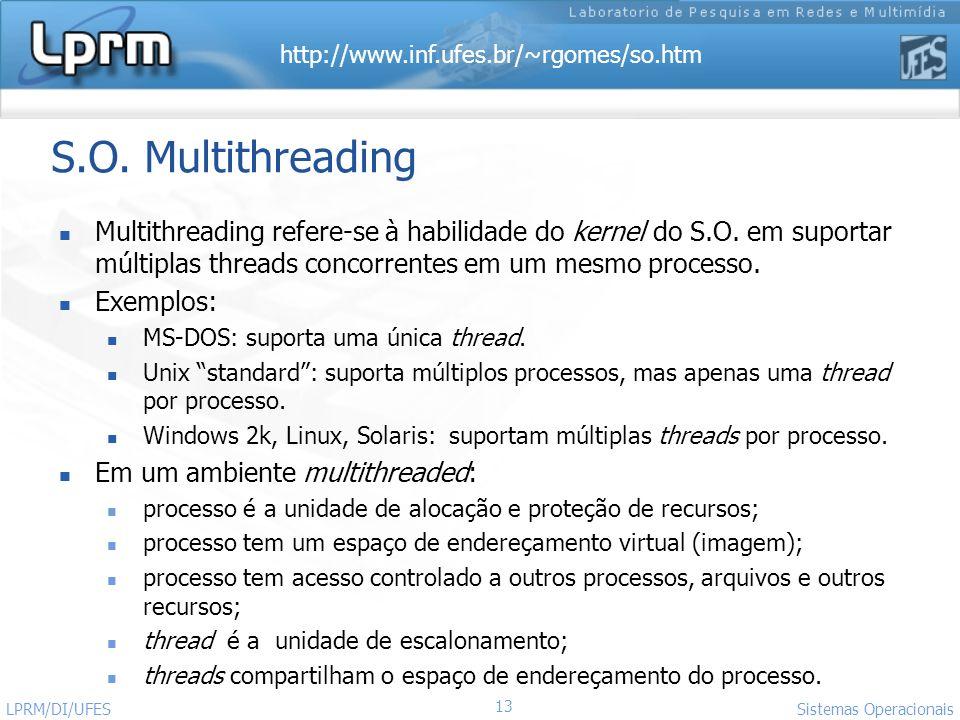 S.O. Multithreading Multithreading refere-se à habilidade do kernel do S.O. em suportar múltiplas threads concorrentes em um mesmo processo.