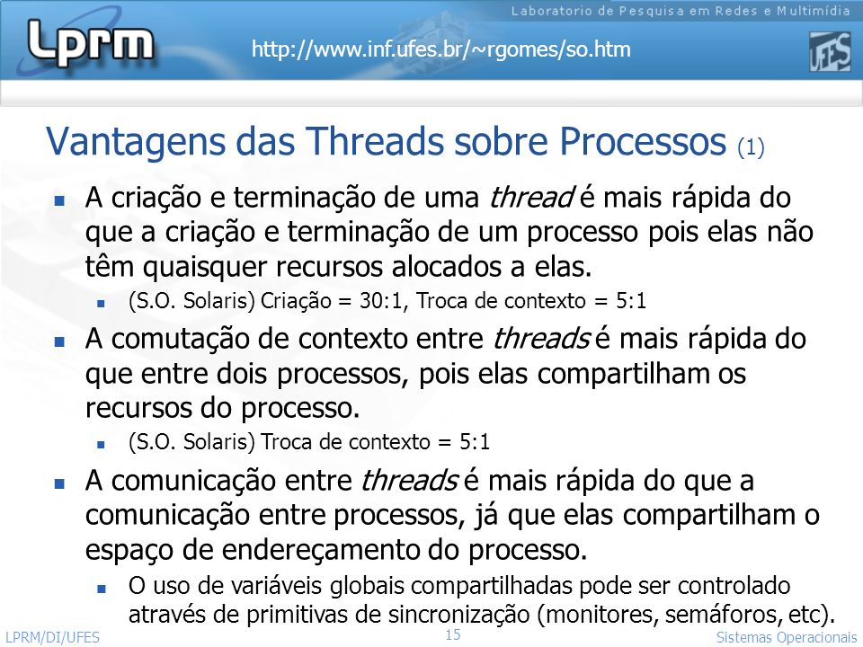 Vantagens das Threads sobre Processos (1)