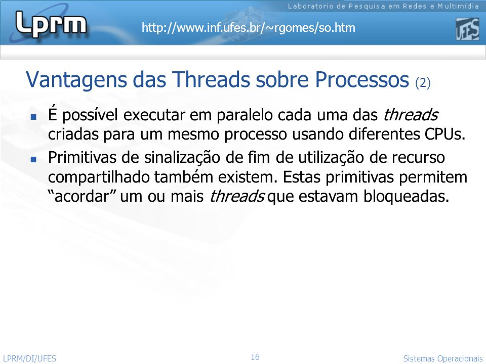 Vantagens das Threads sobre Processos (2)