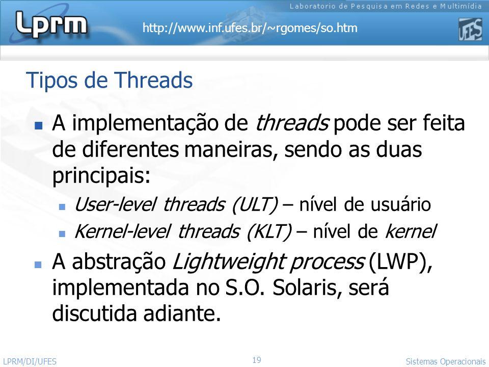 Tipos de Threads A implementação de threads pode ser feita de diferentes maneiras, sendo as duas principais: