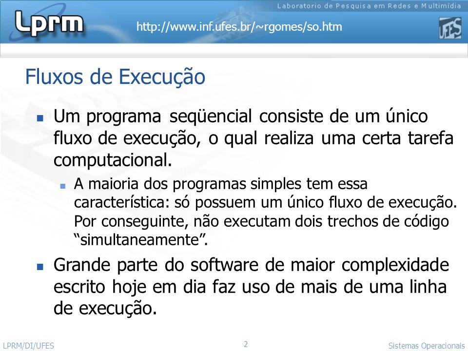 Fluxos de Execução Um programa seqüencial consiste de um único fluxo de execução, o qual realiza uma certa tarefa computacional.