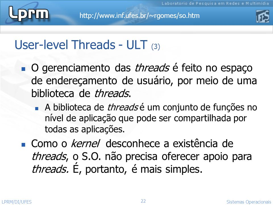 User-level Threads - ULT (3)