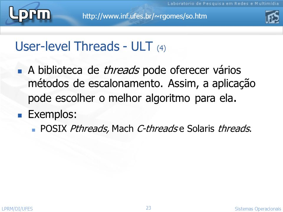 User-level Threads - ULT (4)