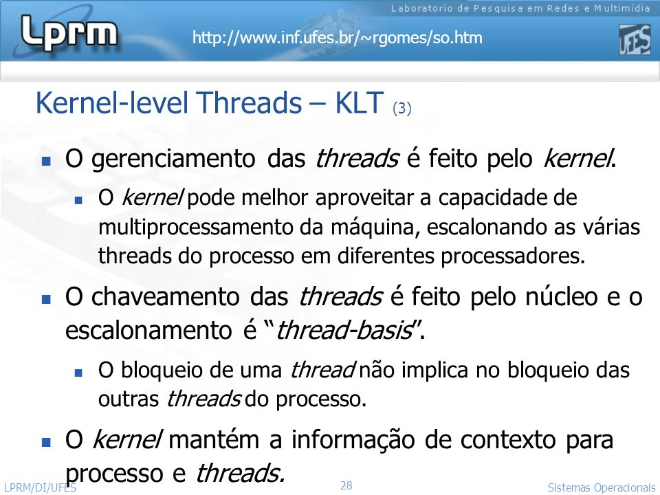 Kernel-level Threads – KLT (3)
