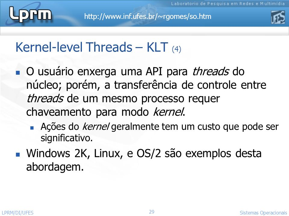 Kernel-level Threads – KLT (4)