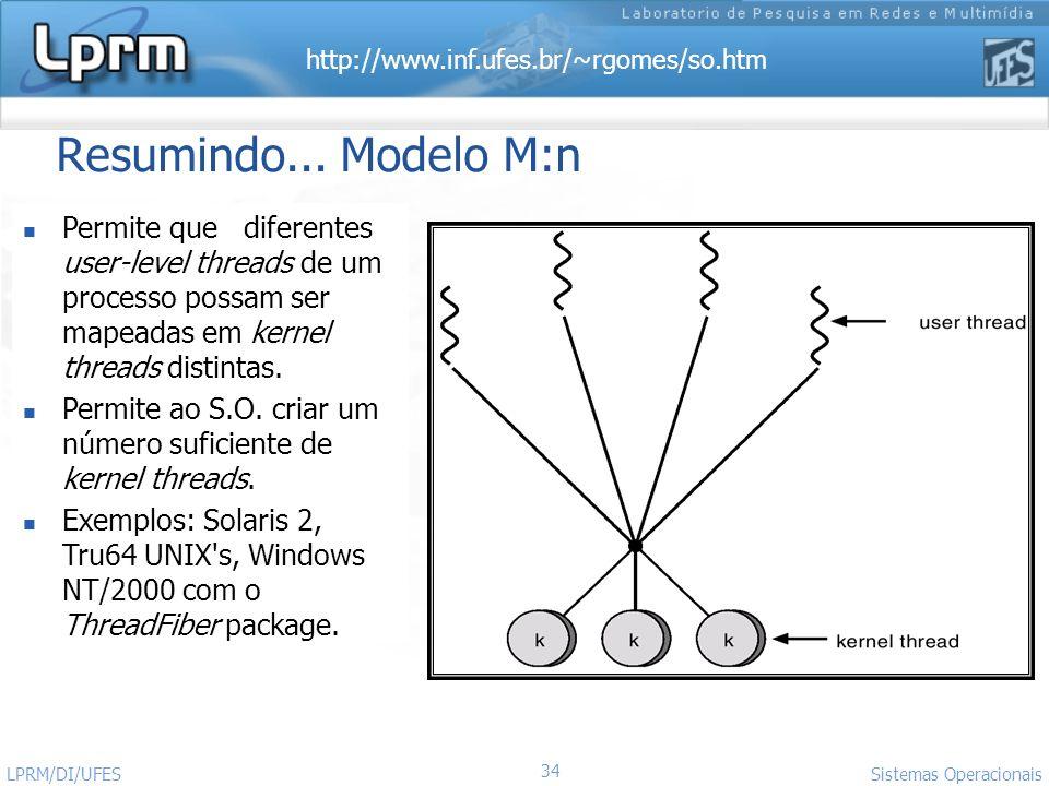 Resumindo... Modelo M:nPermite que diferentes user-level threads de um processo possam ser mapeadas em kernel threads distintas.