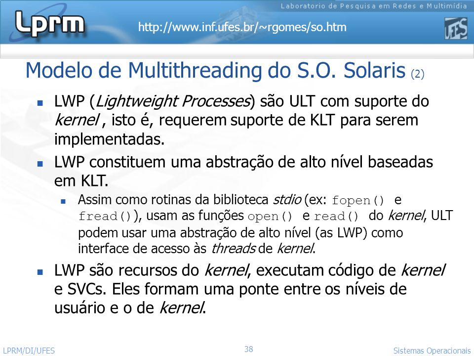 Modelo de Multithreading do S.O. Solaris (2)