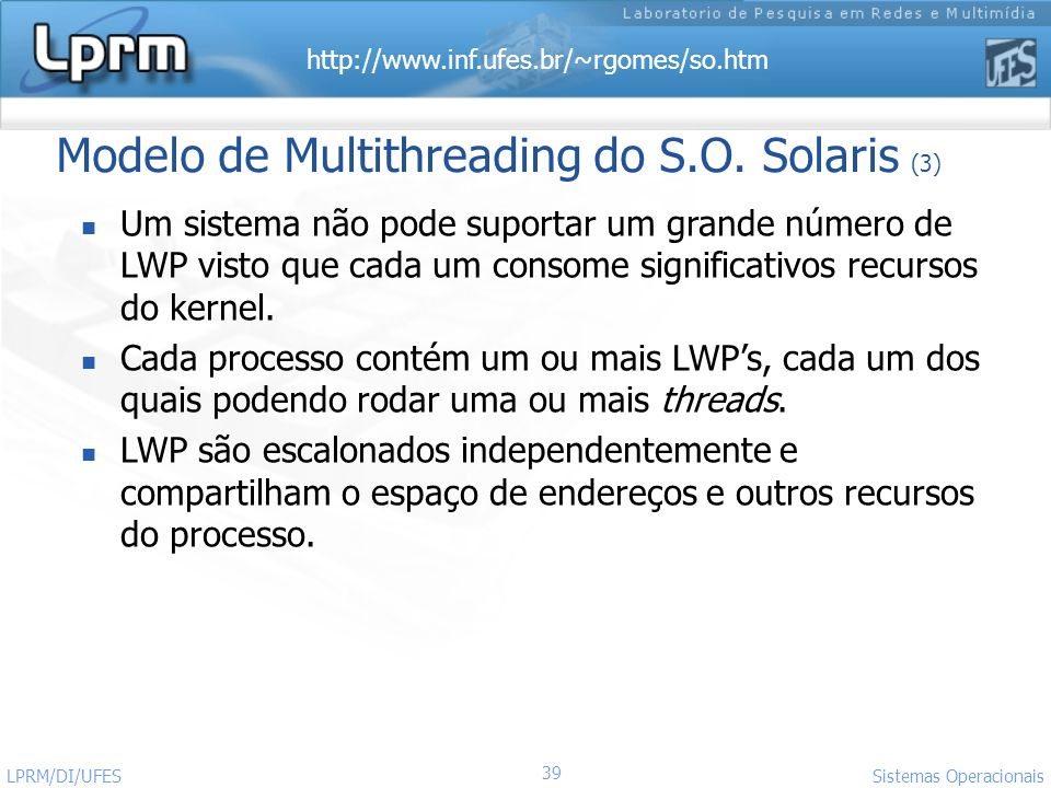 Modelo de Multithreading do S.O. Solaris (3)