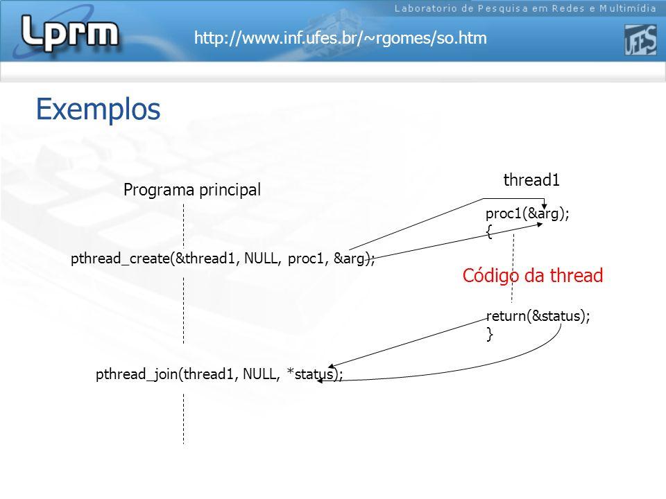 Exemplos Código da thread thread1 Programa principal proc1(&arg); {