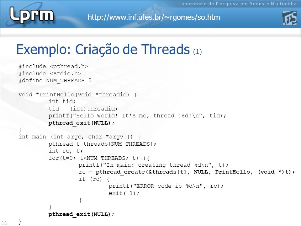 Exemplo: Criação de Threads (1)