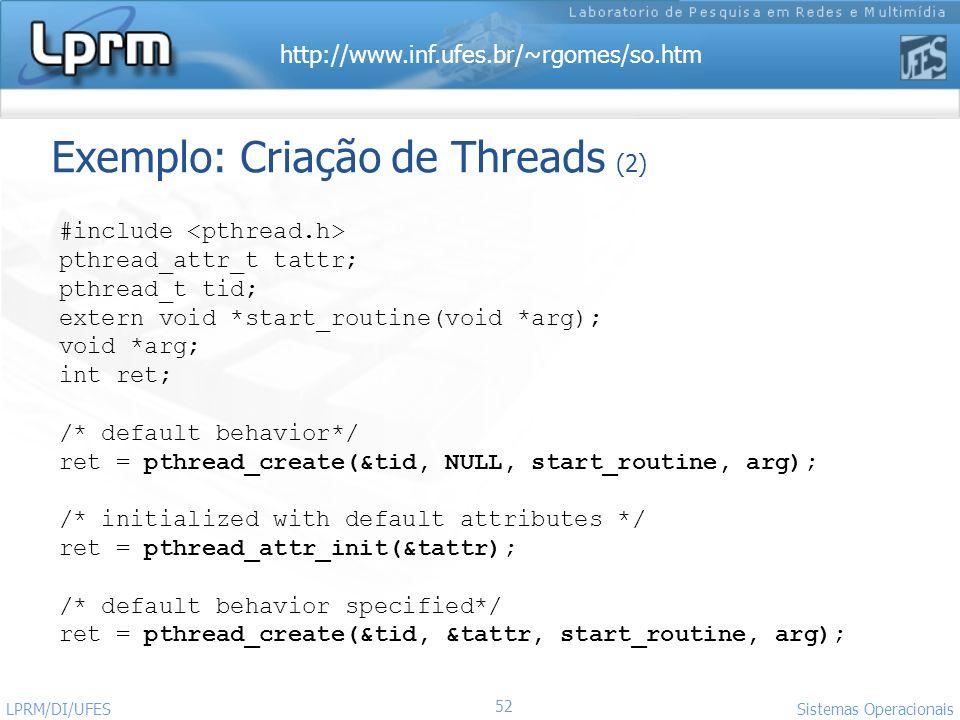 Exemplo: Criação de Threads (2)