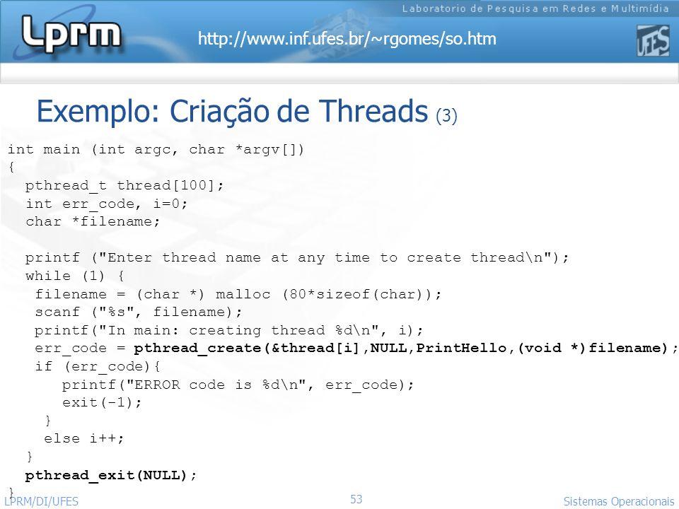 Exemplo: Criação de Threads (3)