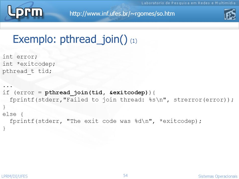 Exemplo: pthread_join() (1)