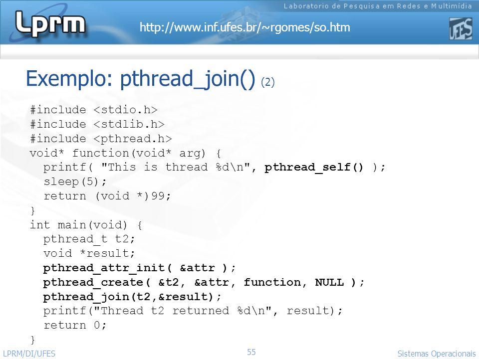 Exemplo: pthread_join() (2)