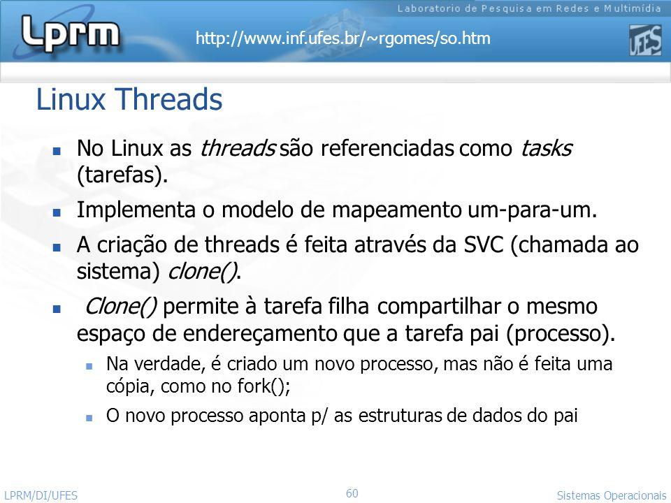 Linux ThreadsNo Linux as threads são referenciadas como tasks (tarefas). Implementa o modelo de mapeamento um-para-um.