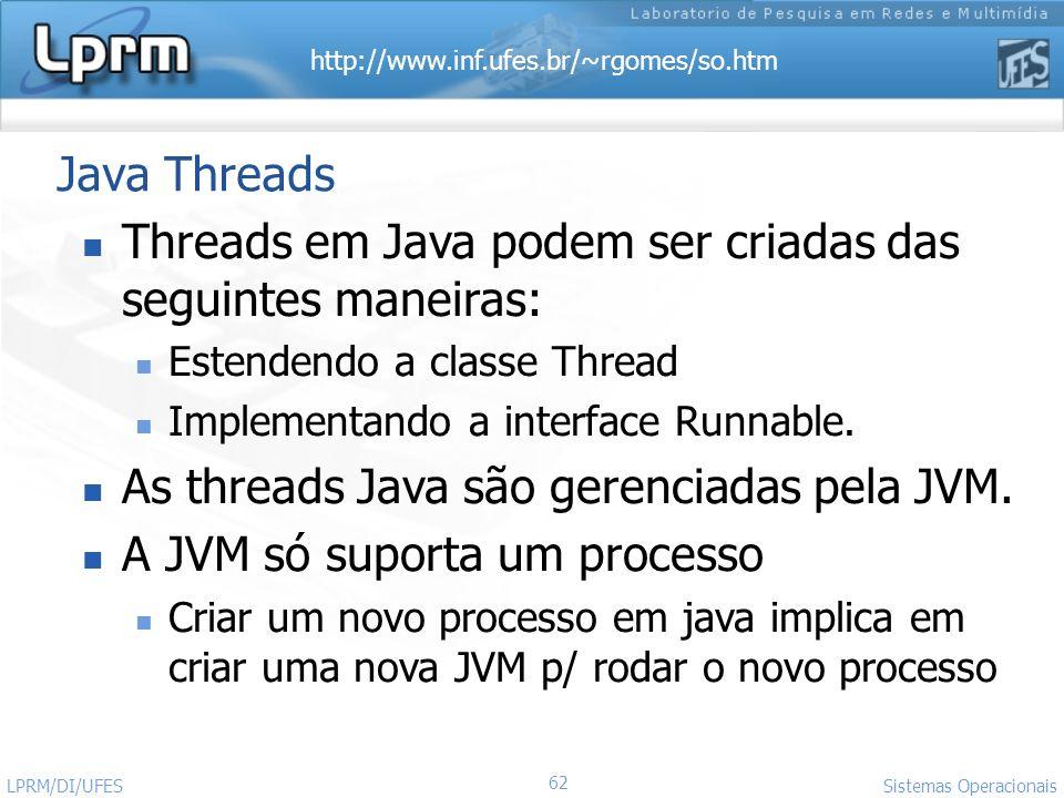 Threads em Java podem ser criadas das seguintes maneiras: