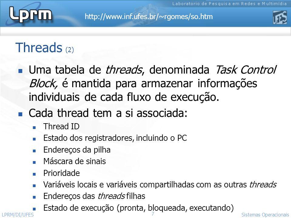 Threads (2) Uma tabela de threads, denominada Task Control Block, é mantida para armazenar informações individuais de cada fluxo de execução.
