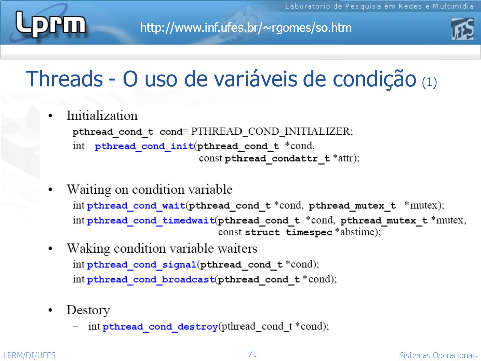 Threads - O uso de variáveis de condição (1)