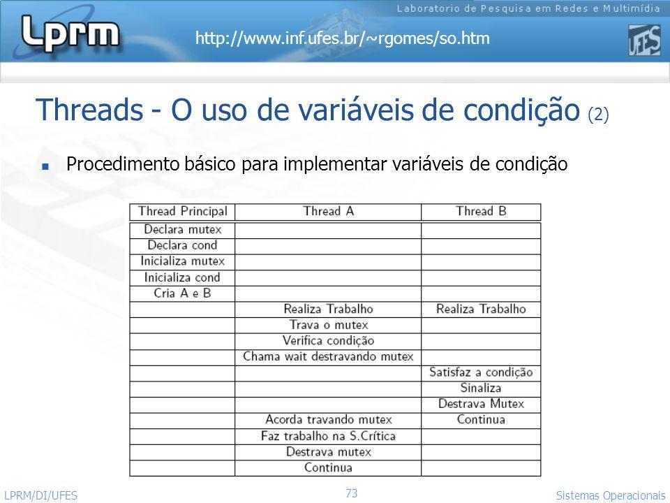 Threads - O uso de variáveis de condição (2)