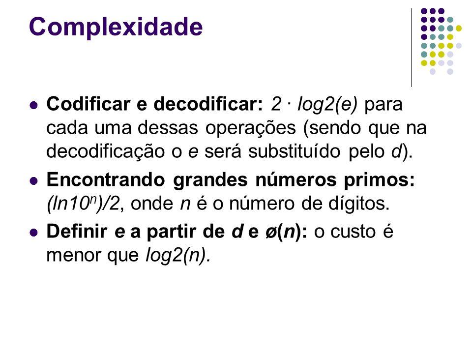 Complexidade Codificar e decodificar: 2 · log2(e) para cada uma dessas operações (sendo que na decodificação o e será substituído pelo d).