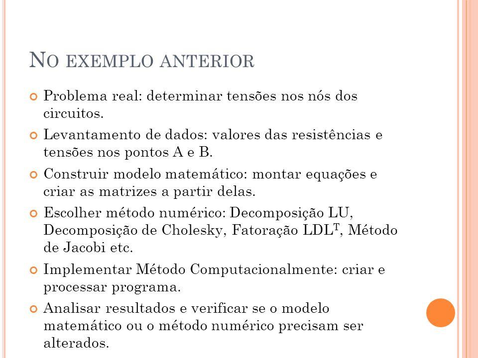 No exemplo anteriorProblema real: determinar tensões nos nós dos circuitos.