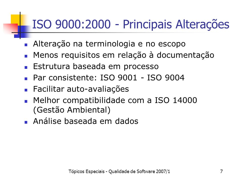 ISO 9000:2000 - Principais Alterações