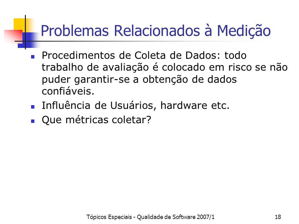 Problemas Relacionados à Medição