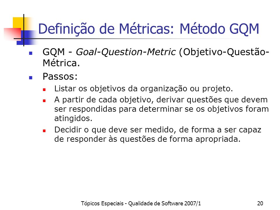 Definição de Métricas: Método GQM