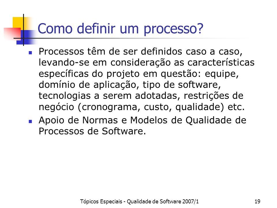 Como definir um processo