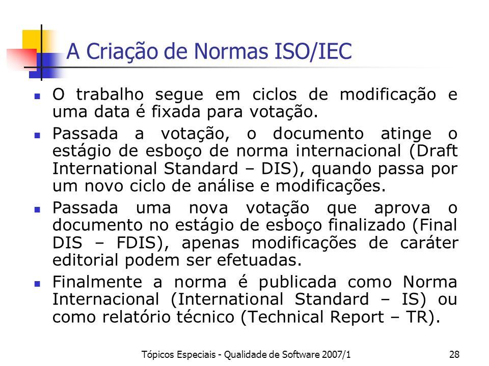 A Criação de Normas ISO/IEC