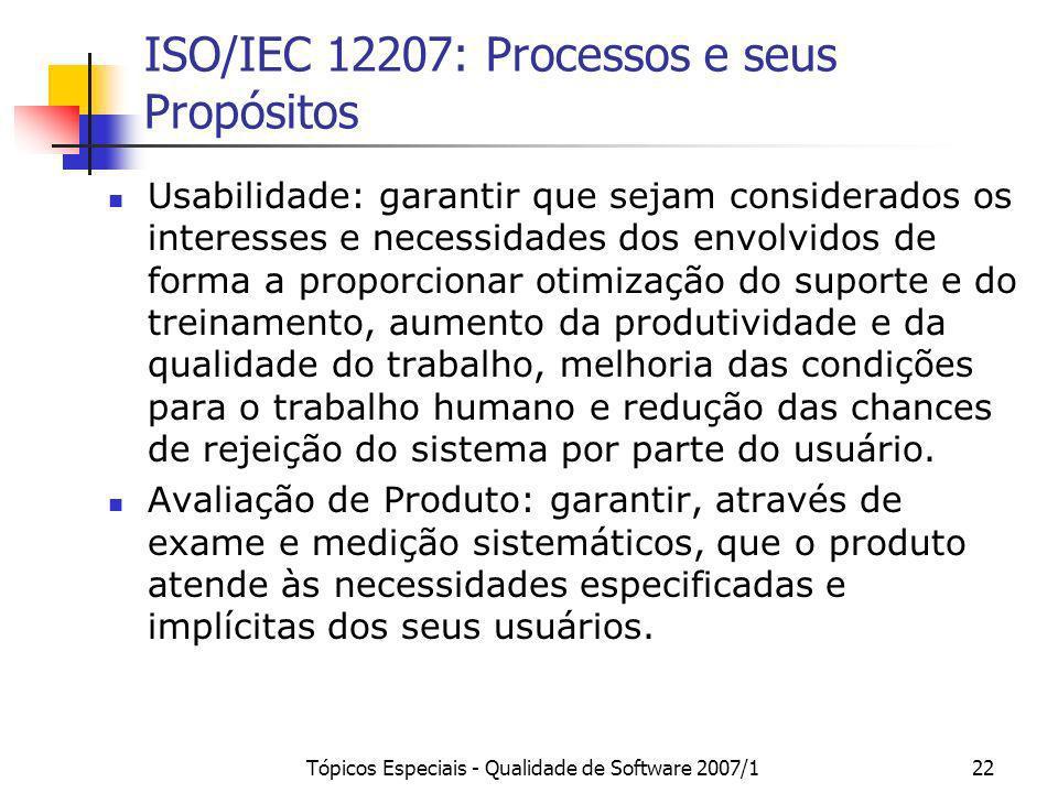 ISO/IEC 12207: Processos e seus Propósitos