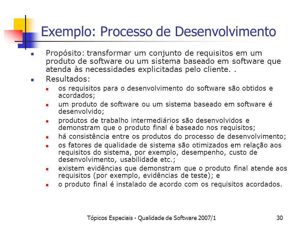 Exemplo: Processo de Desenvolvimento