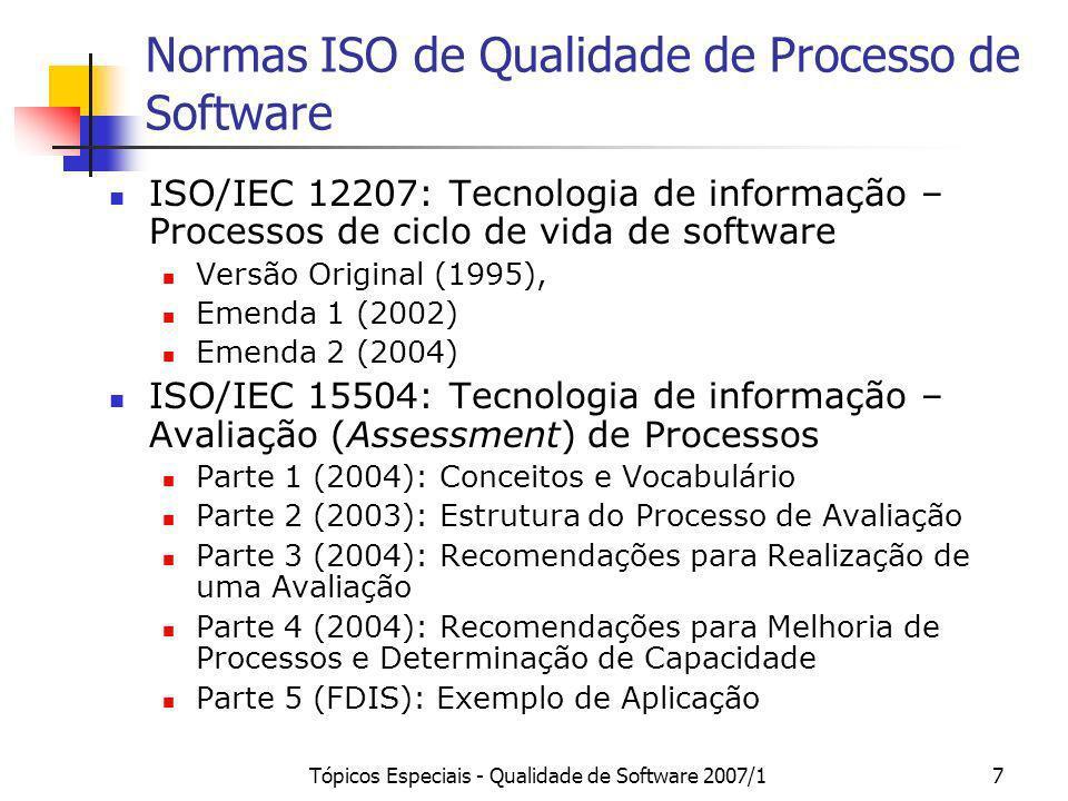 Normas ISO de Qualidade de Processo de Software