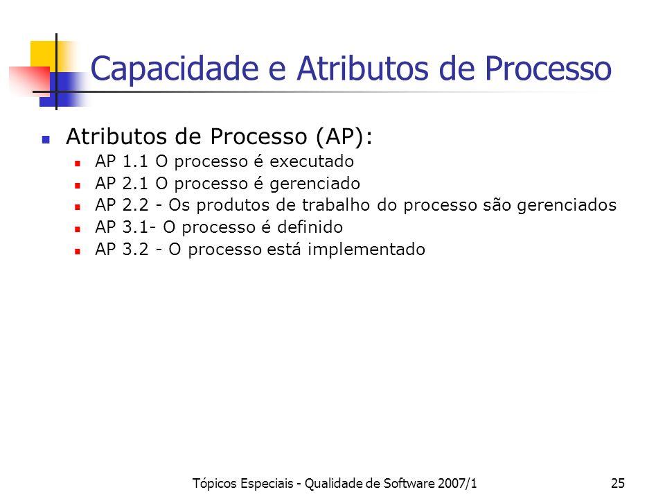 Capacidade e Atributos de Processo