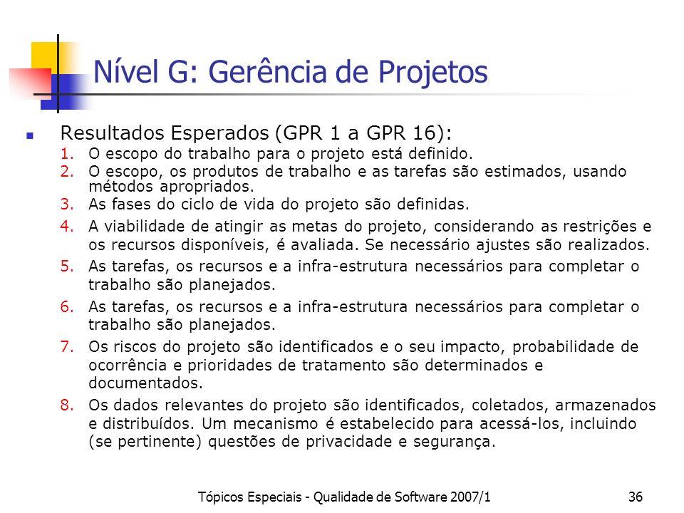 Nível G: Gerência de Projetos